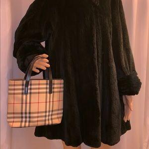 RARE!  discontinued BURBERRY mini HAYMARKET tote